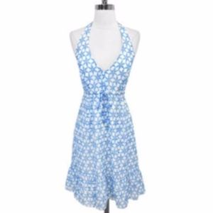 Lilly Pulitzer floral halter Dress coastal blue 6